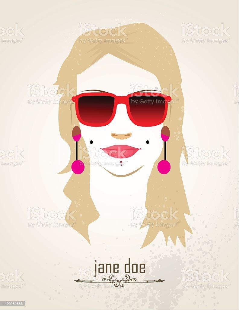 Femme avec des lunettes de soleil stock vecteur libres de droits libre de droits