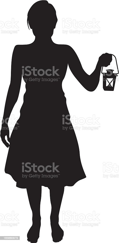 Woman with Tealight Lantern royalty-free stock vector art