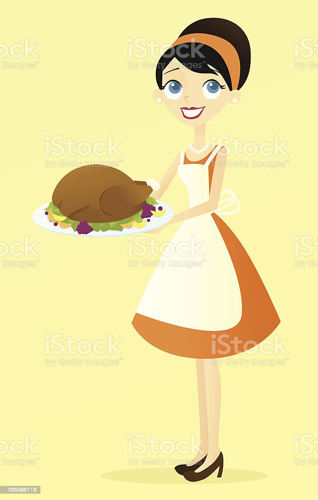 Woman with Turkey royalty-free stock vector art
