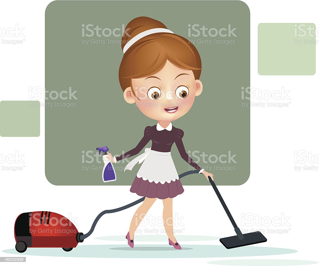 Woman with vacuum cleaner royalty-free stock vector art