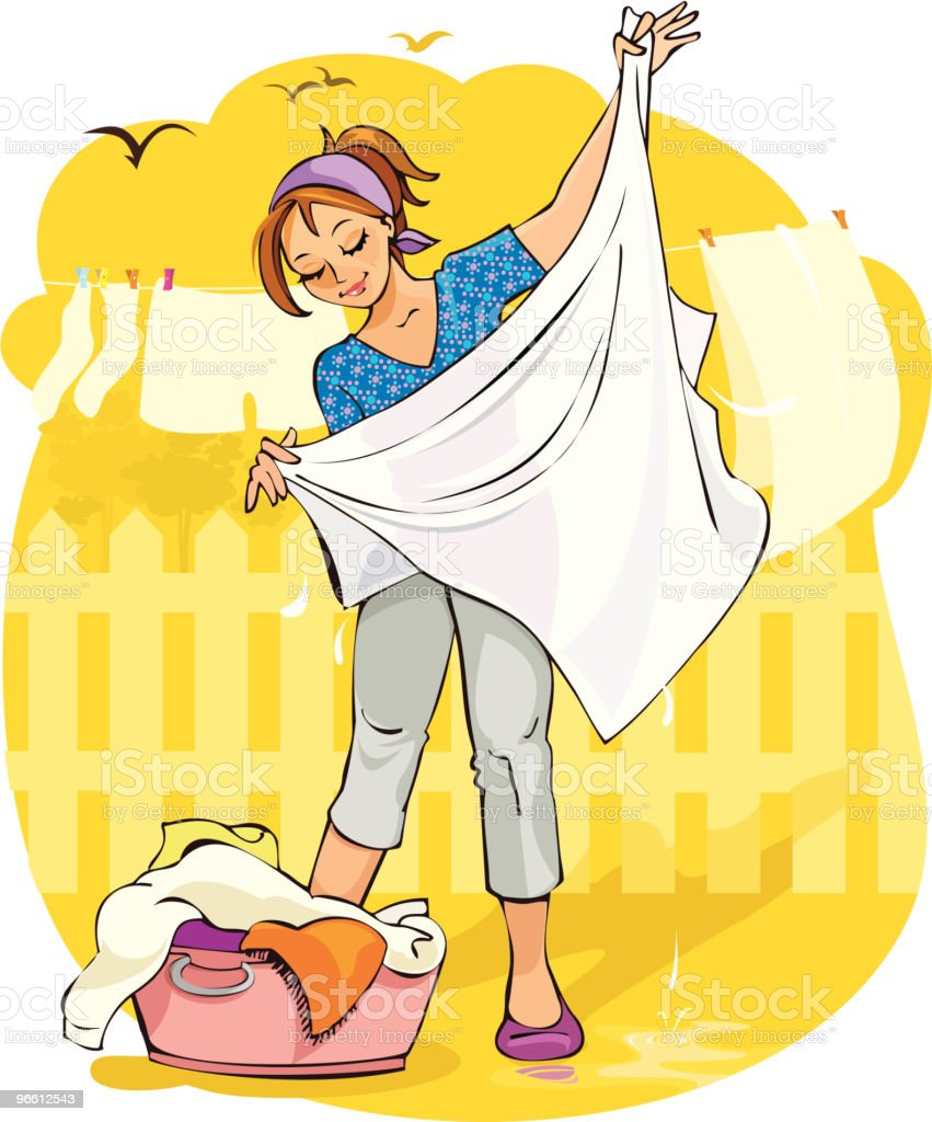 Woman with Washing vector art illustration