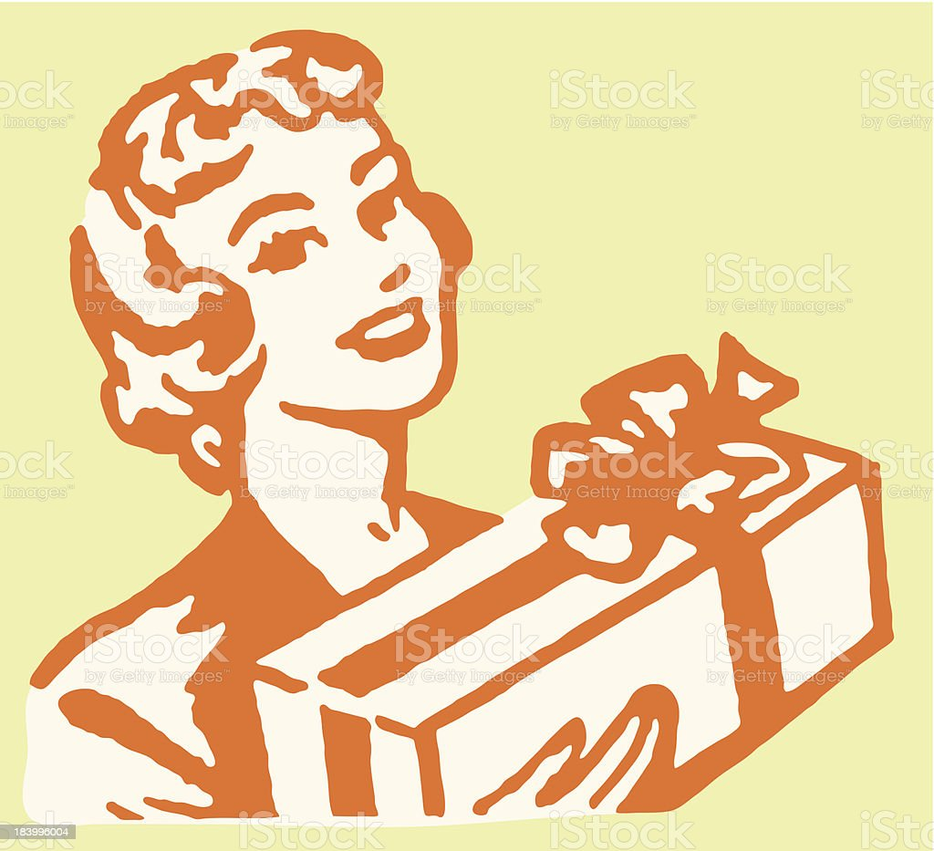 Woman with Wrapped Gift vector art illustration