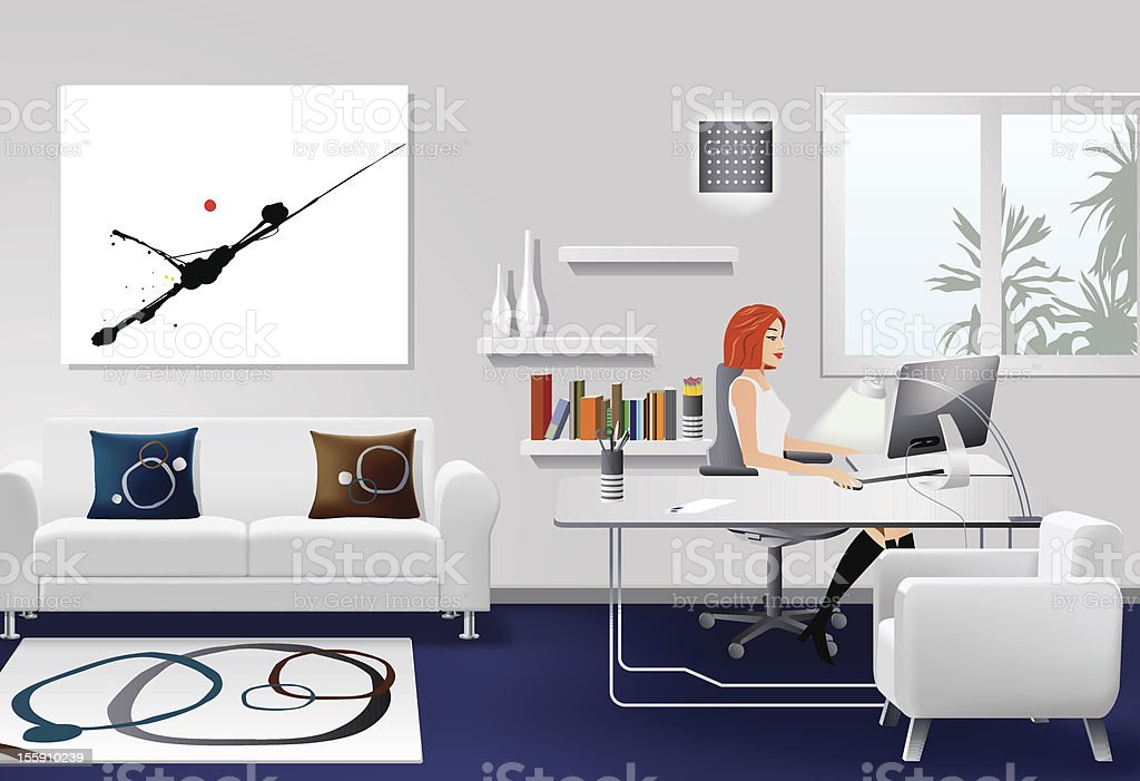 Woman Working in Modern Office Interior vector art illustration