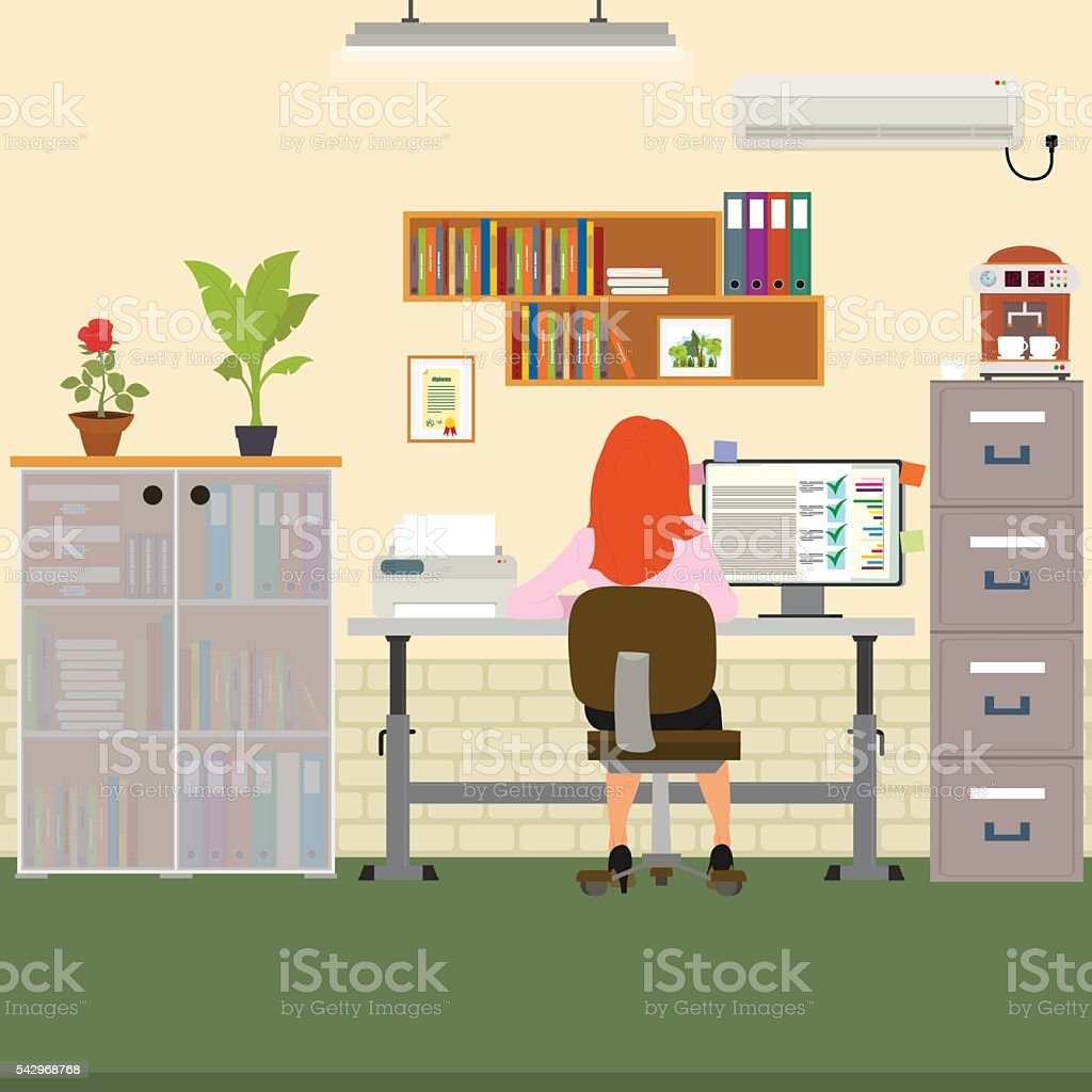 woman working in the office on the computer. vector art illustration