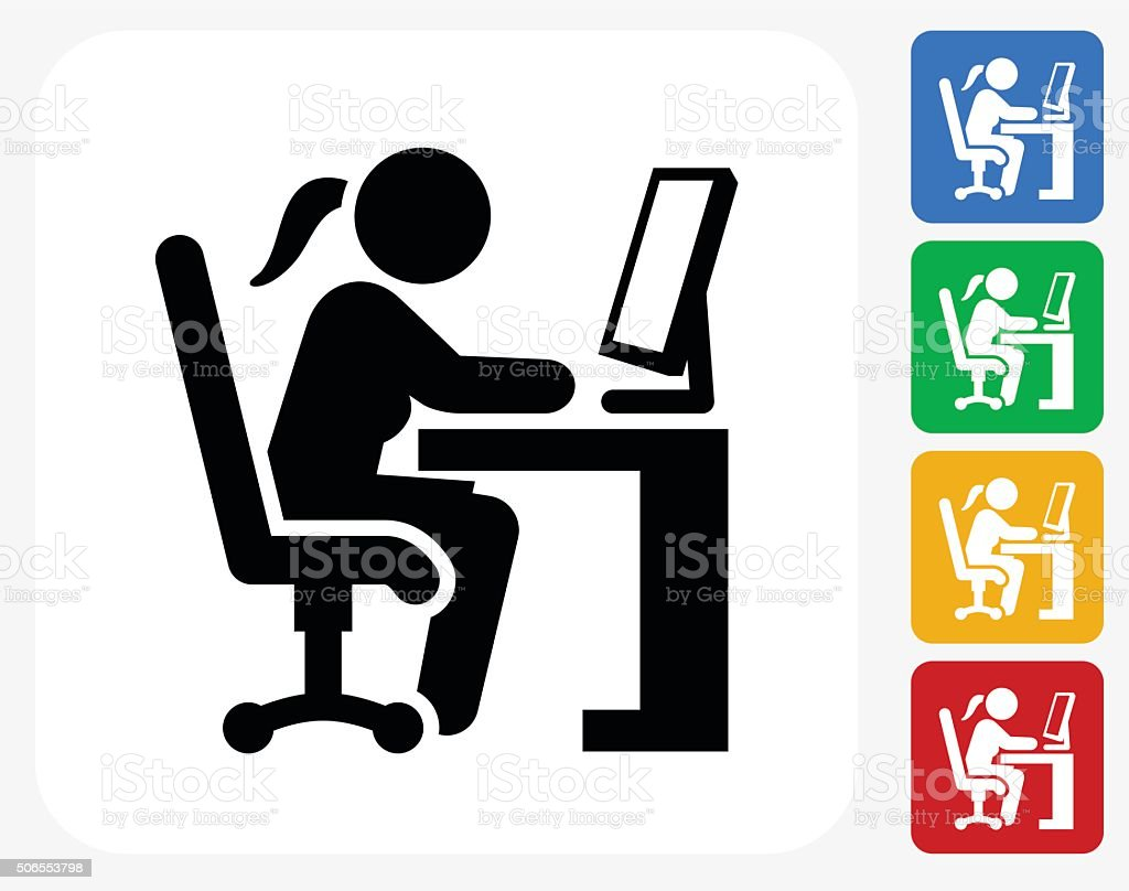 Woman Working on Computer Icon Flat Graphic Design vector art illustration