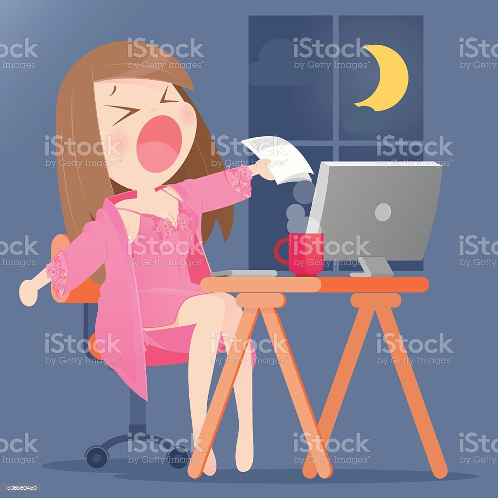 Woman working on her computer vector art illustration