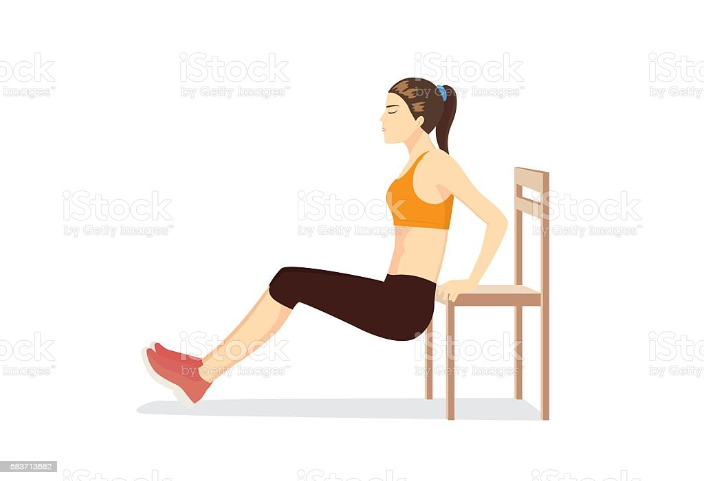 Woman workout with chair for body firming. vector art illustration