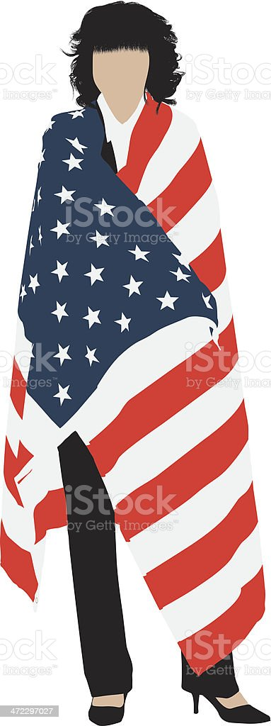 Woman wrapped in American flag royalty-free stock vector art