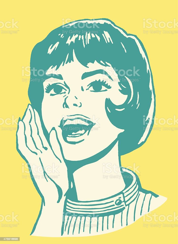 Woman Yelling vector art illustration