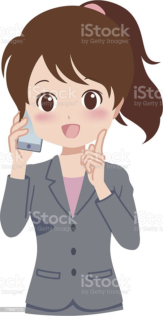 woman_phone royalty-free stock vector art