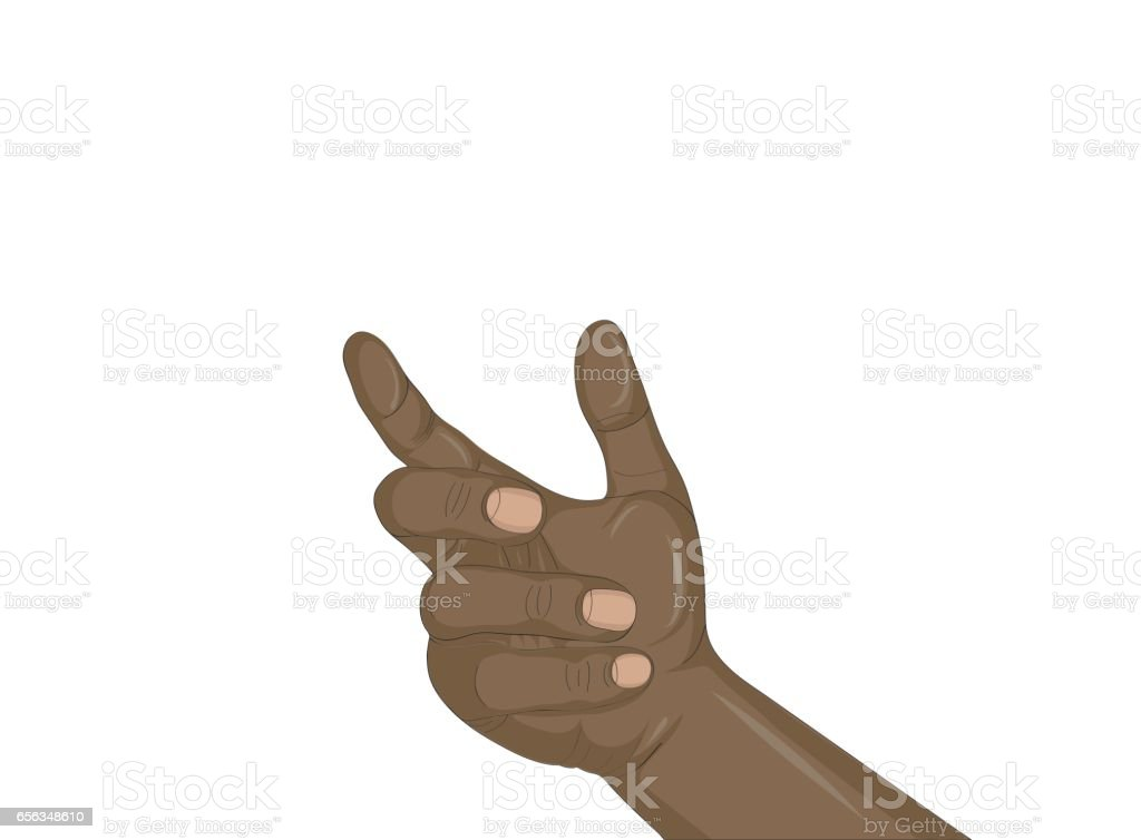 A woman's black hand holds something invisible. Empty place for your ad or product or object. Simply insert into the palm of your hand. Vector illustration isolated on white background vector art illustration