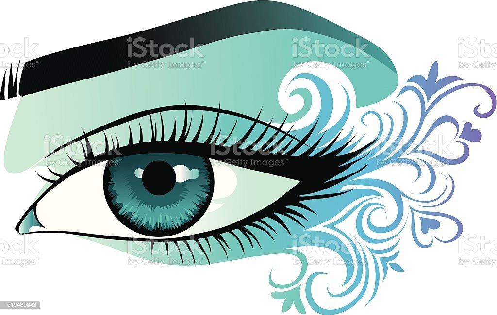 woman's eye close up vector art illustration