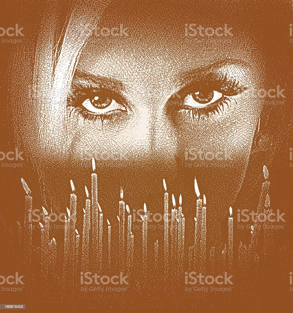 Woman's Face and Candles royalty-free stock vector art