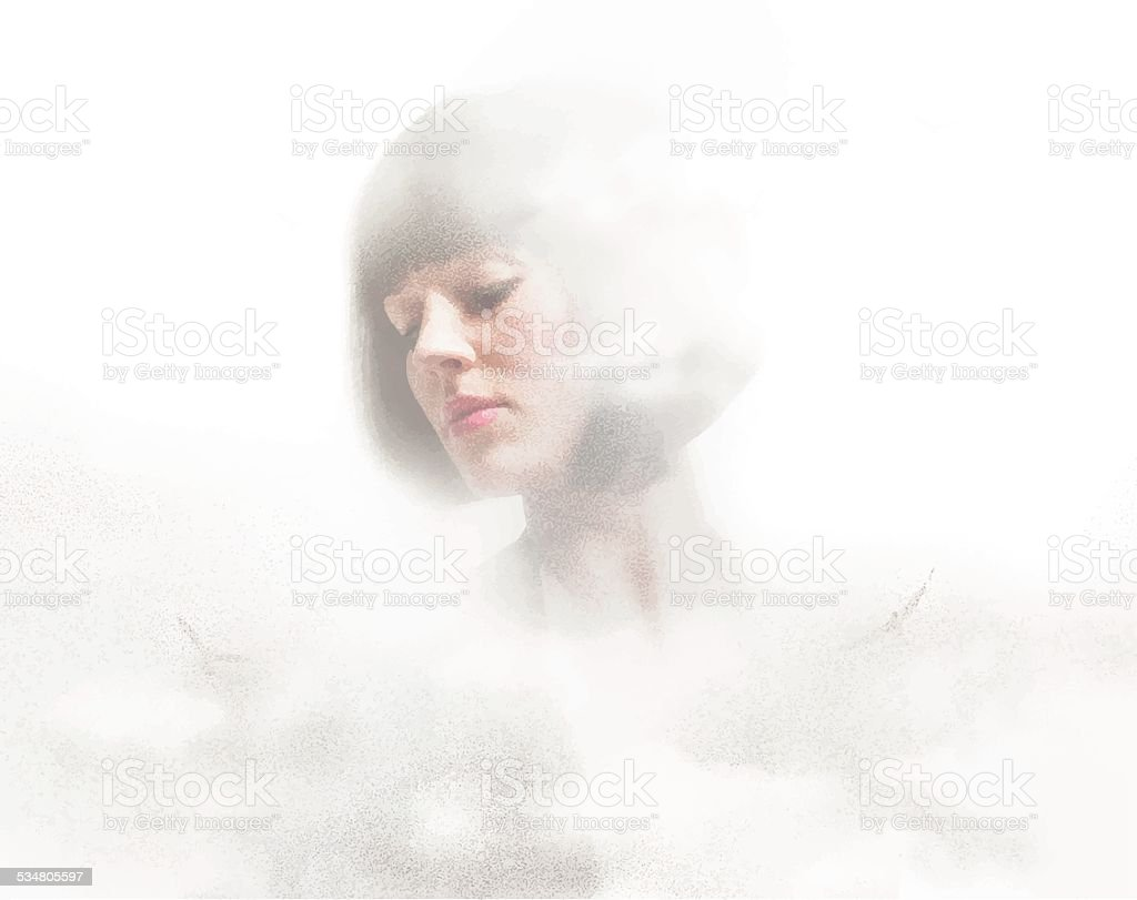 Woman's Face and Clouds vector art illustration