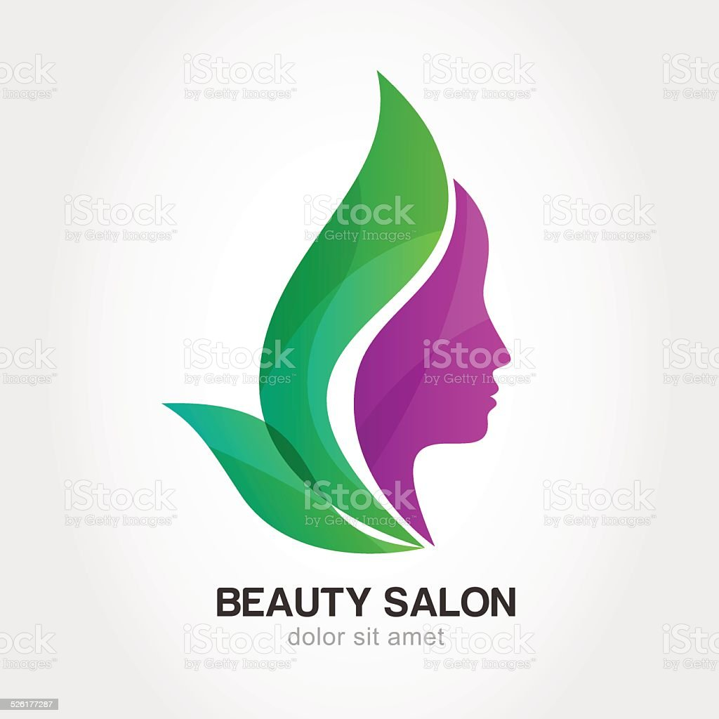 Woman's face in flower leaves. Concept for beauty salon, spa. vector art illustration