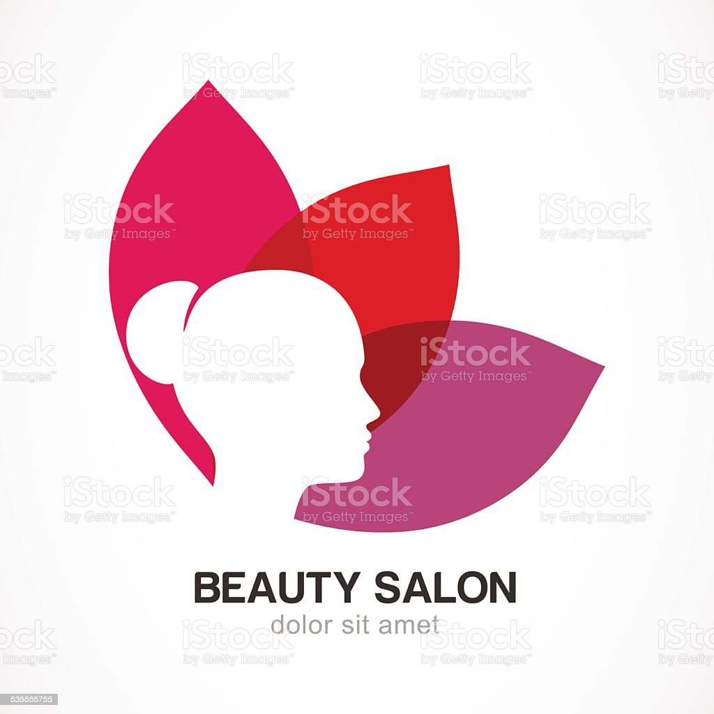 Woman's face in flower leaves. Vector logo design template. vector art illustration
