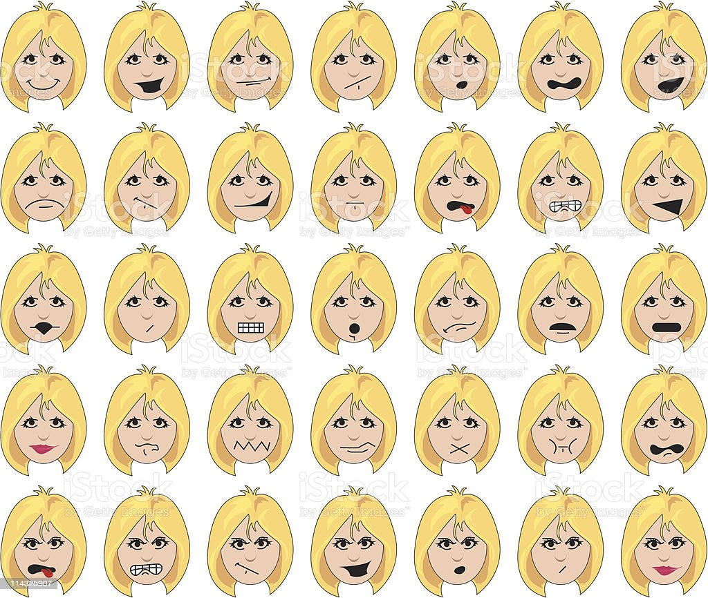 Woman's Faces - Blonde royalty-free stock vector art