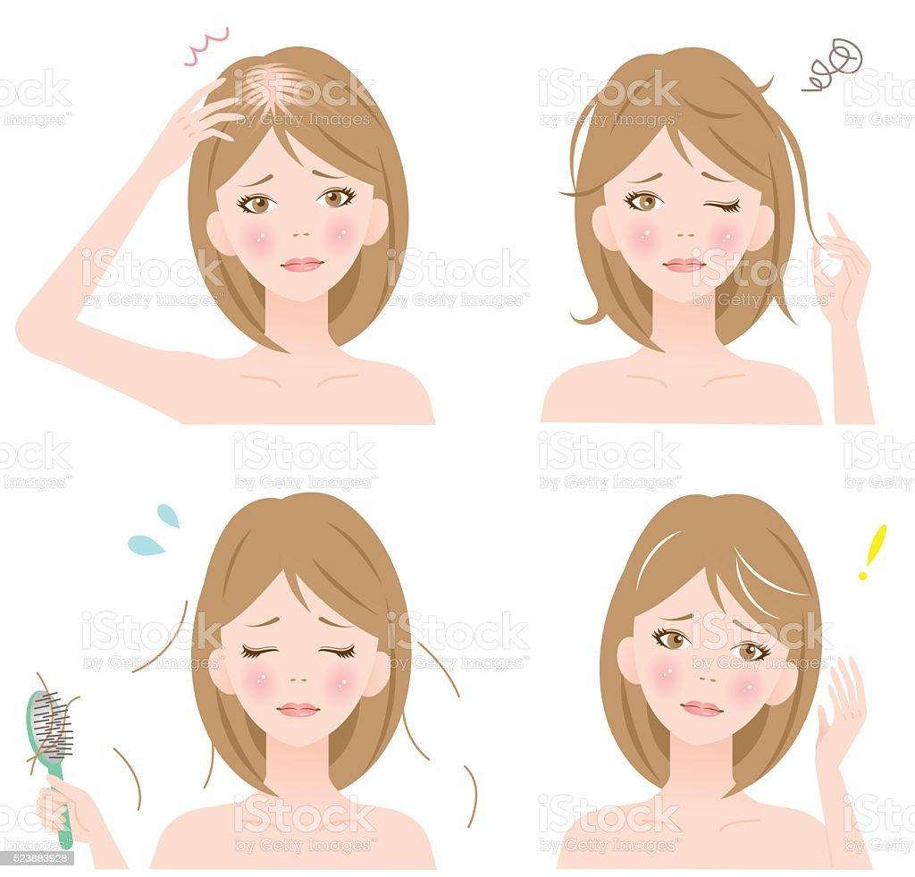 woman's hair problems vector art illustration