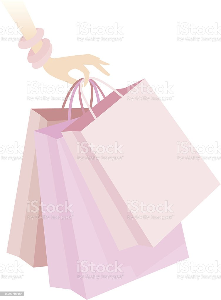 Woman's Hand Holding Pink Shopping Bags Icon vector art illustration