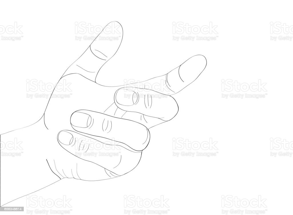 A woman's hand holds something invisible. Empty place for your ad or product or object. Simply insert into the palm of your hand. Vector illustration isolated on white background vector art illustration