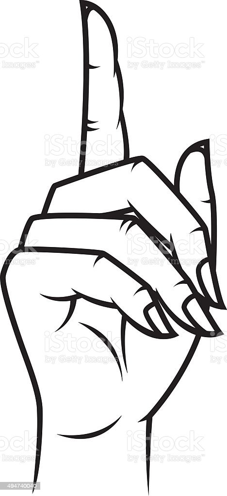 Woman's Hand Pointing Retro Line Art vector art illustration