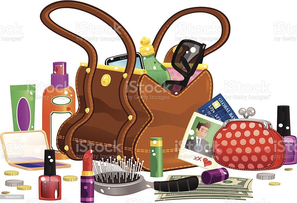 Womans handbag and contents vector art illustration