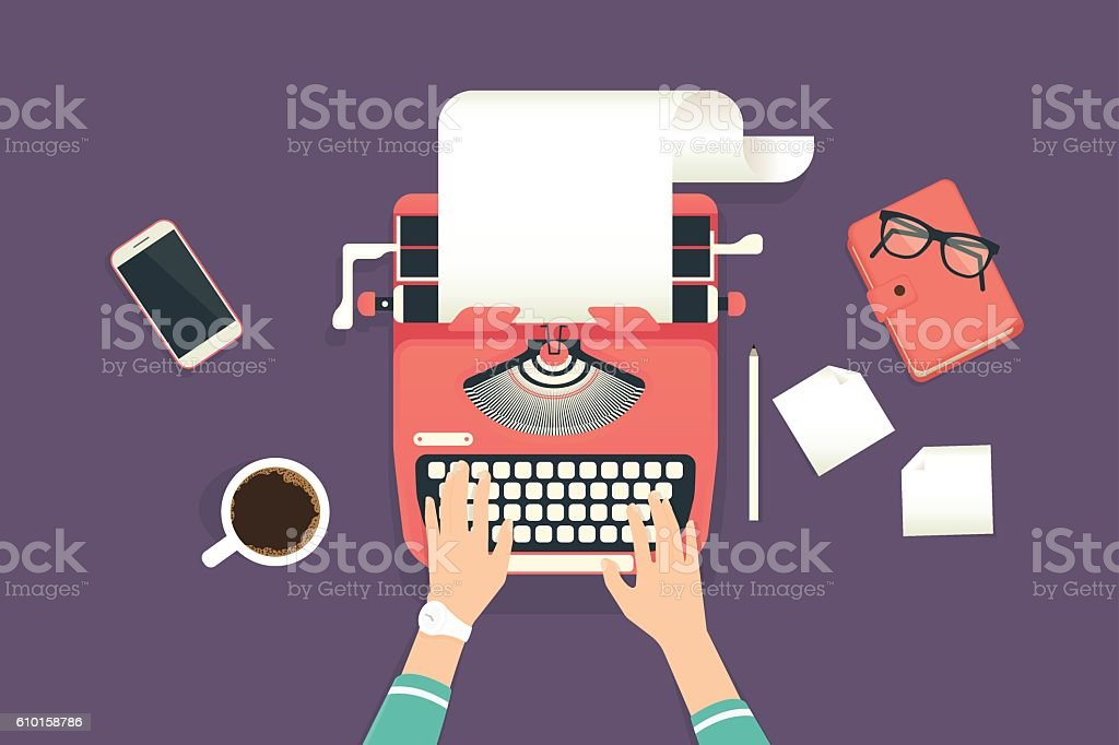 Woman's hands typing on a vintage typewriter vector art illustration