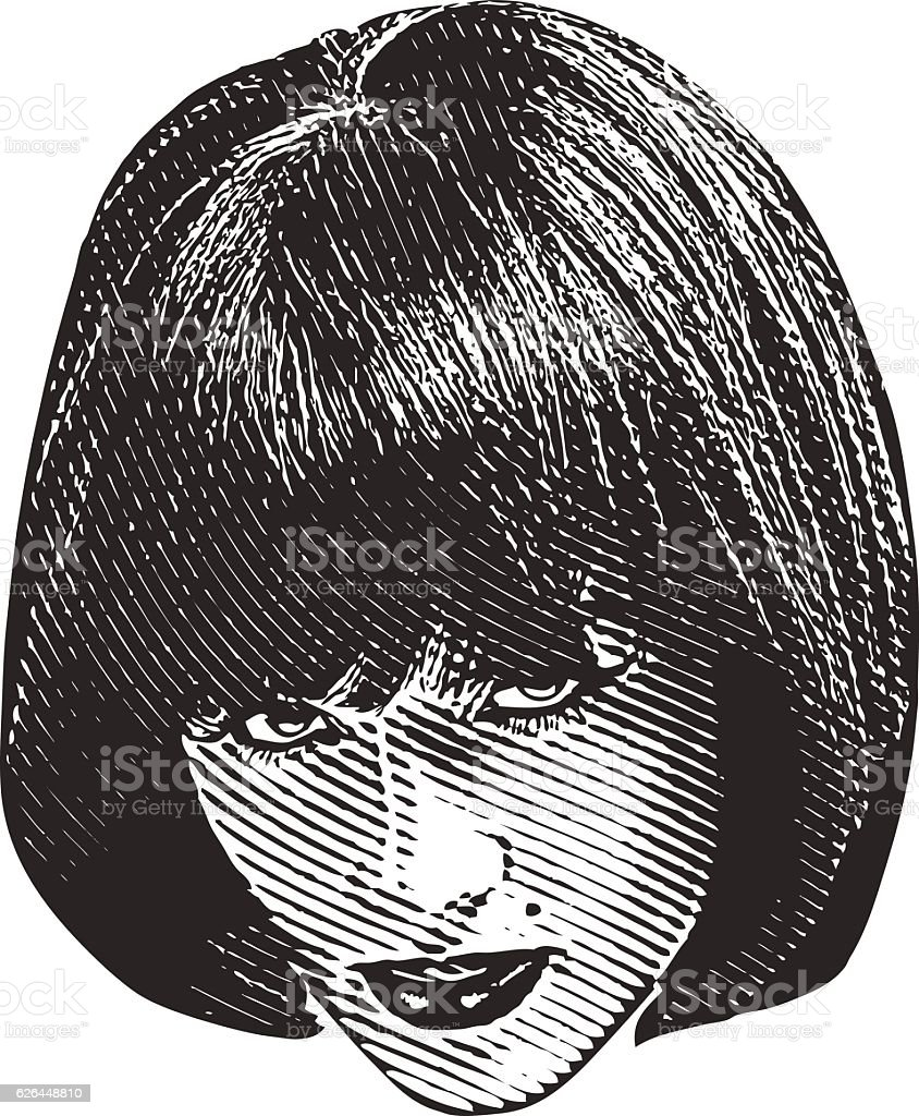 Woman's Head and Serious Facial Expression stock photo