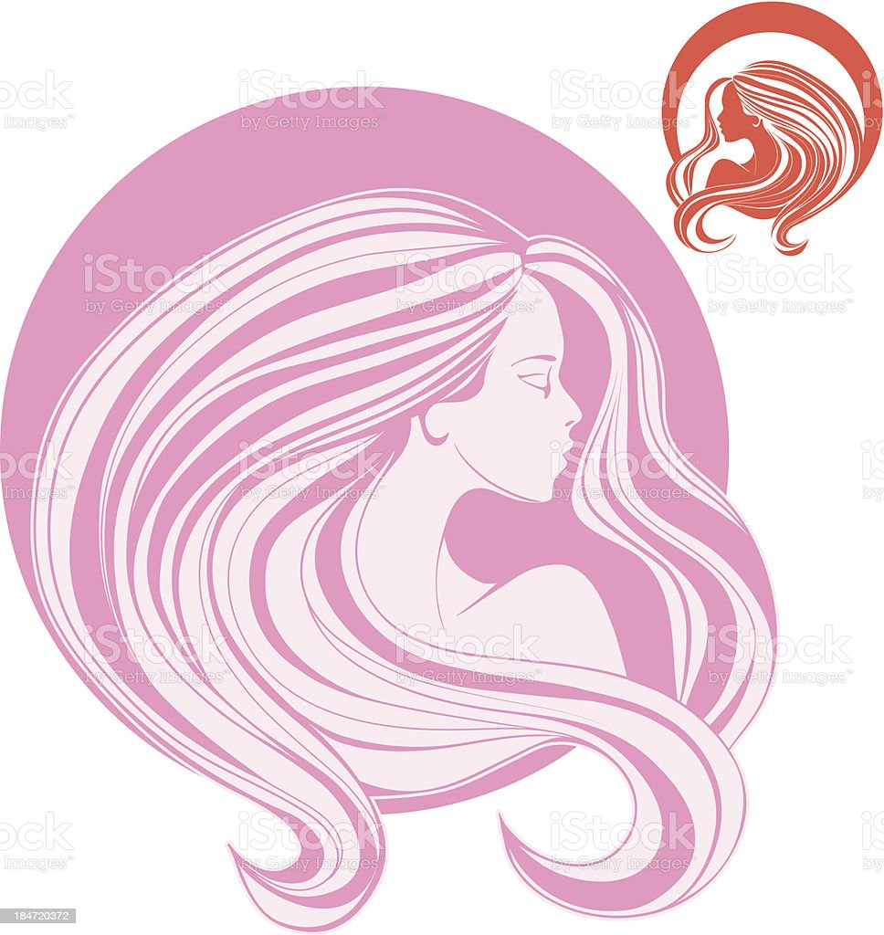 woman's head in side view with curl long  hair royalty-free stock vector art