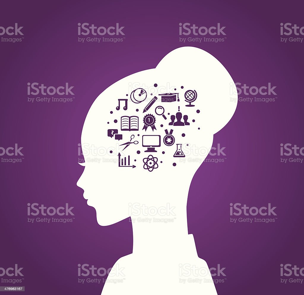 Woman's head with education icons vector art illustration
