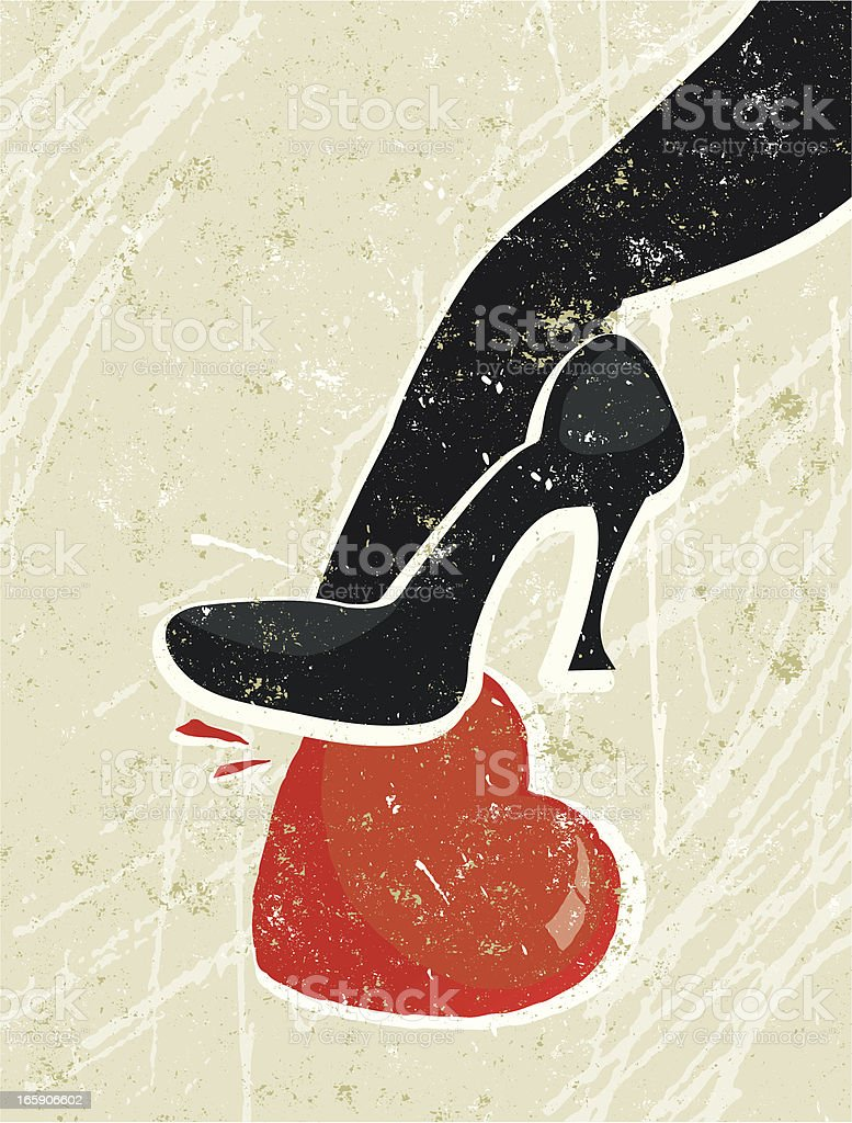 Woman's High Heeled Shoe Crushing a Heart royalty-free stock vector art