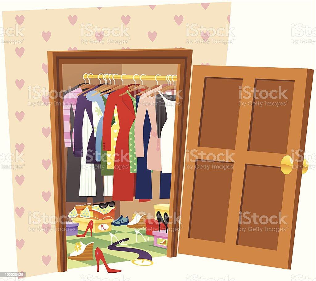 Womans messy wardrobe vector art illustration