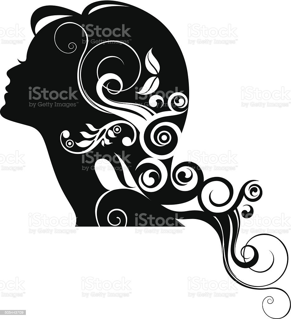 Woman's profile. vector art illustration