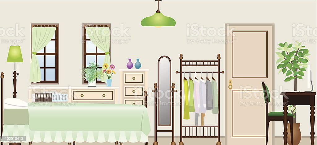 Woman's room royalty-free stock vector art