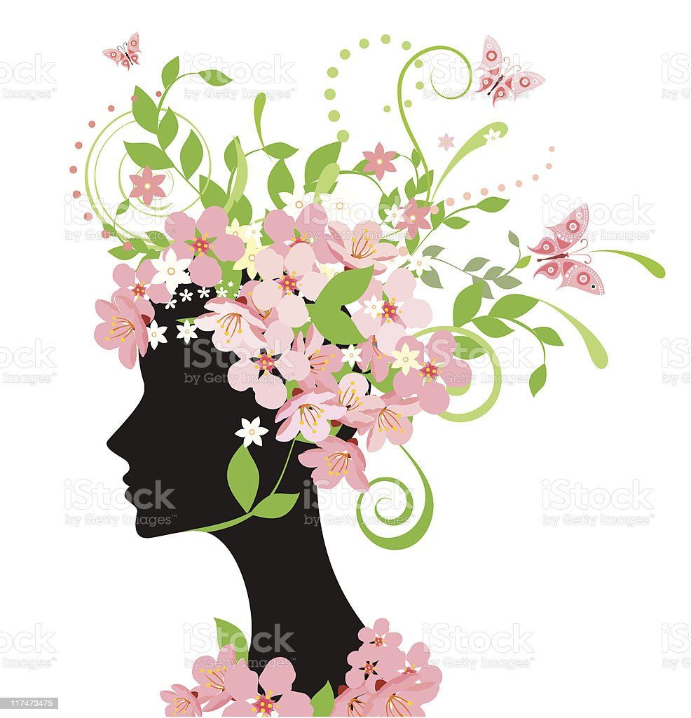 A woman's silhouette with a bonnet made of pink flowers royalty-free stock vector art