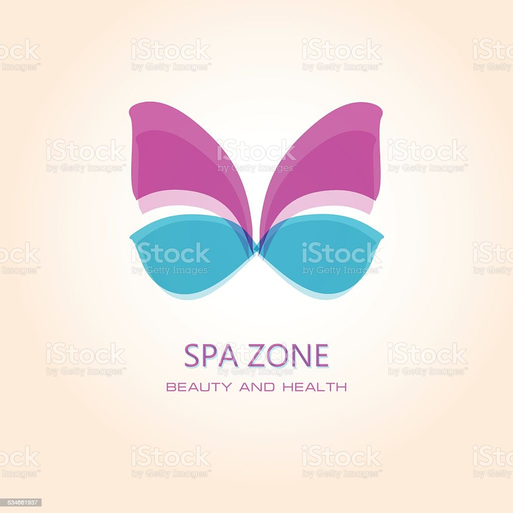 Woman's spa salon sign with butterfly. vector art illustration
