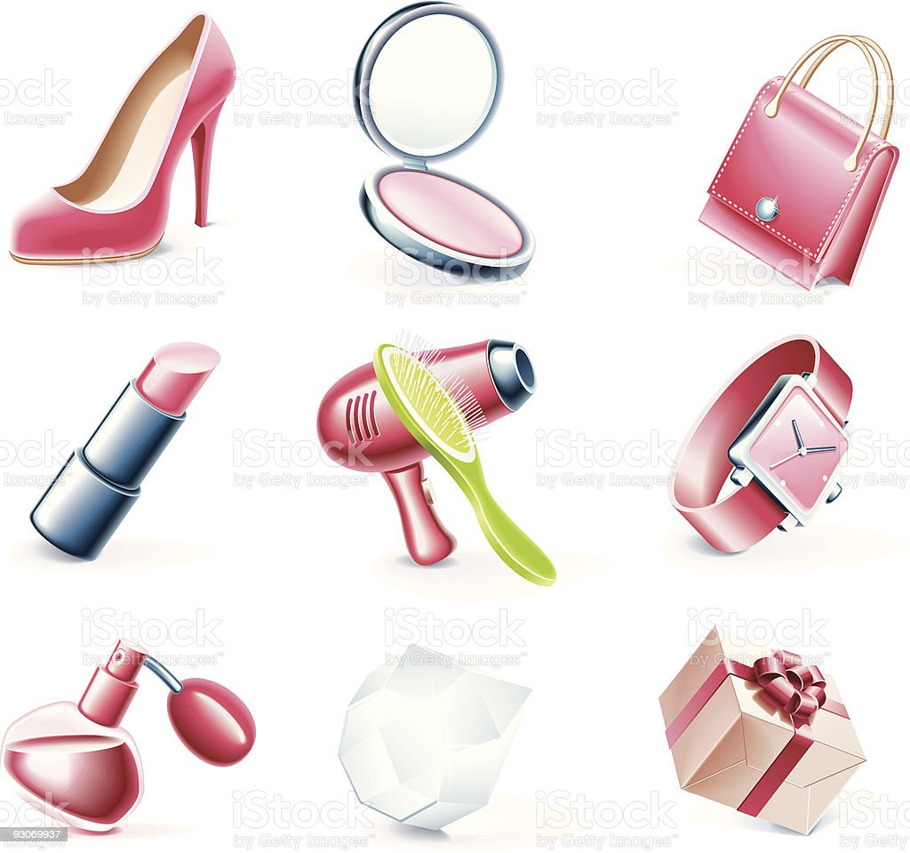 Woman`s stuff icons royalty-free stock vector art
