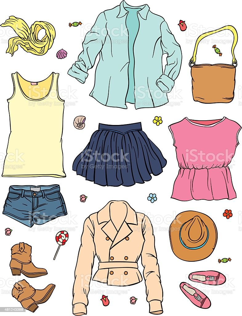 woman's summer clothes and accessories vector art illustration