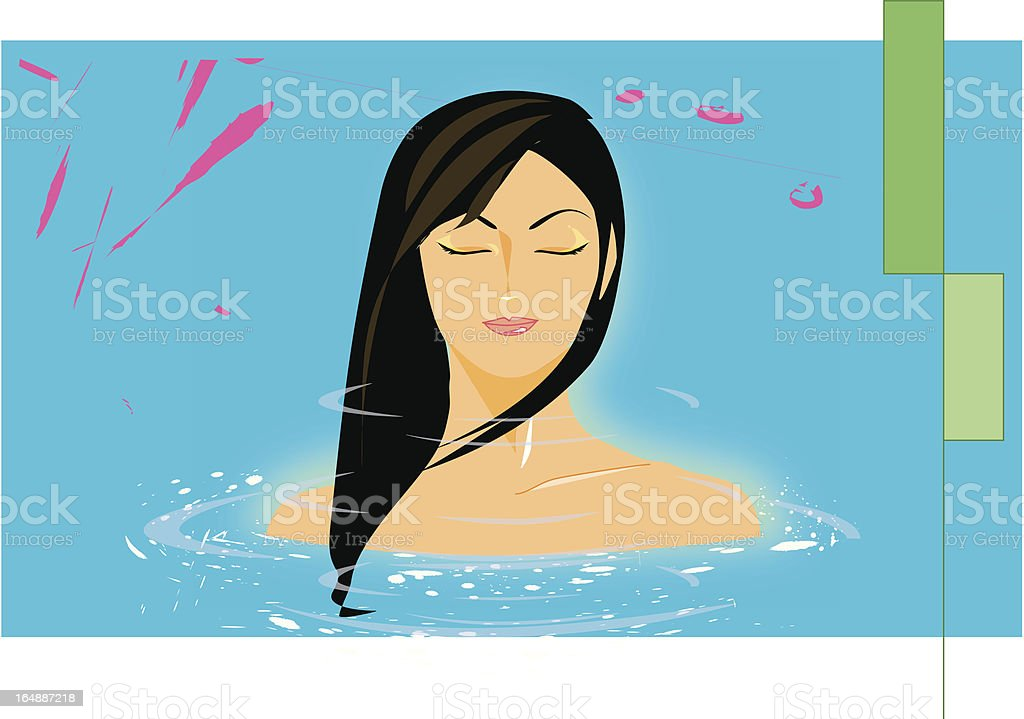 woman's torso, in spa royalty-free stock vector art