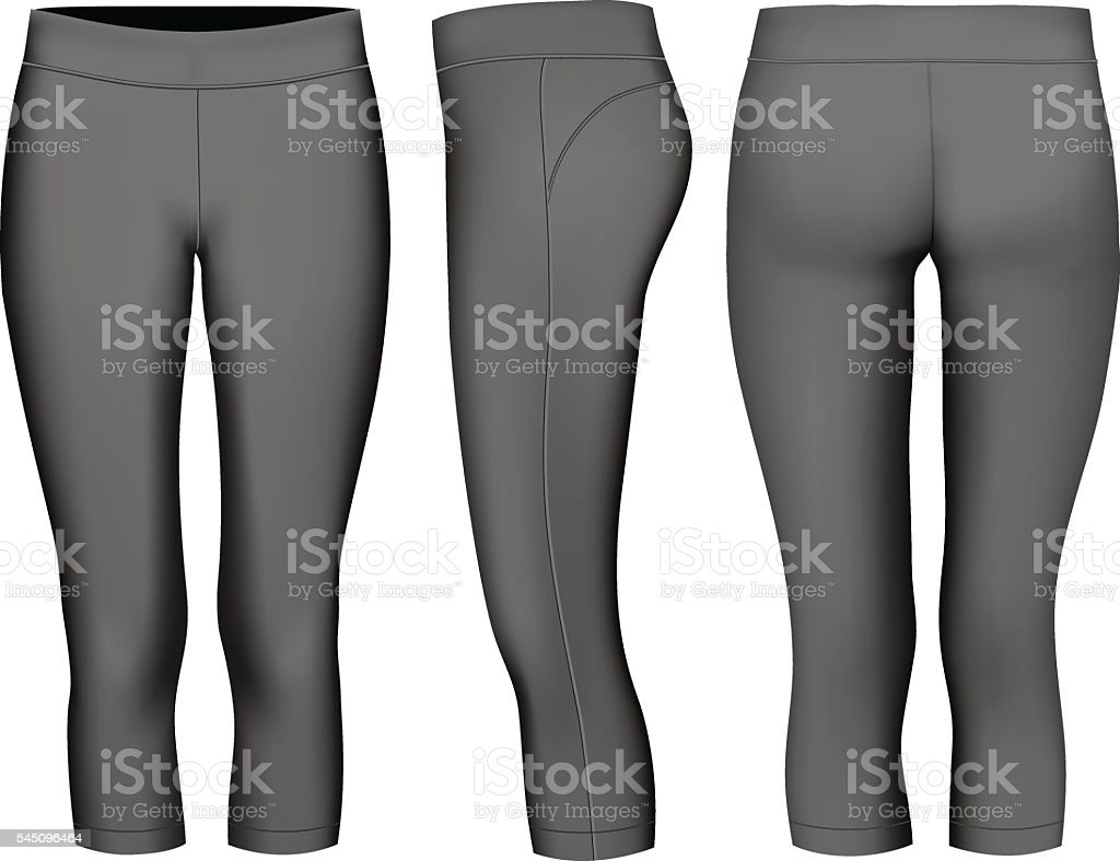 Women 3-4 long black tights. vector art illustration