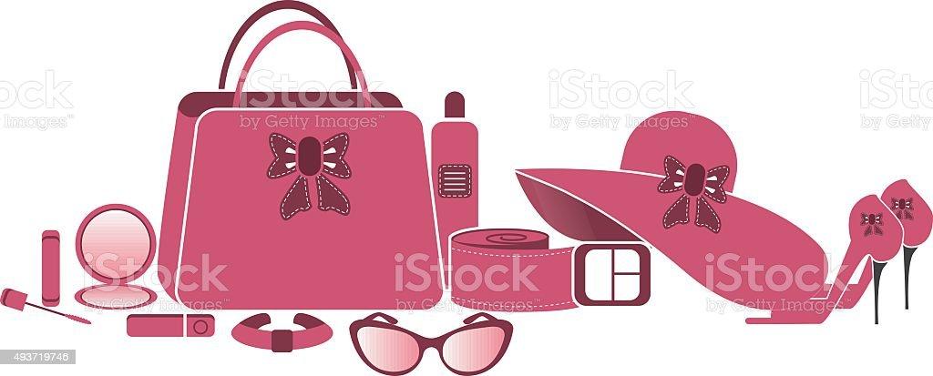 Women accessories vector art illustration