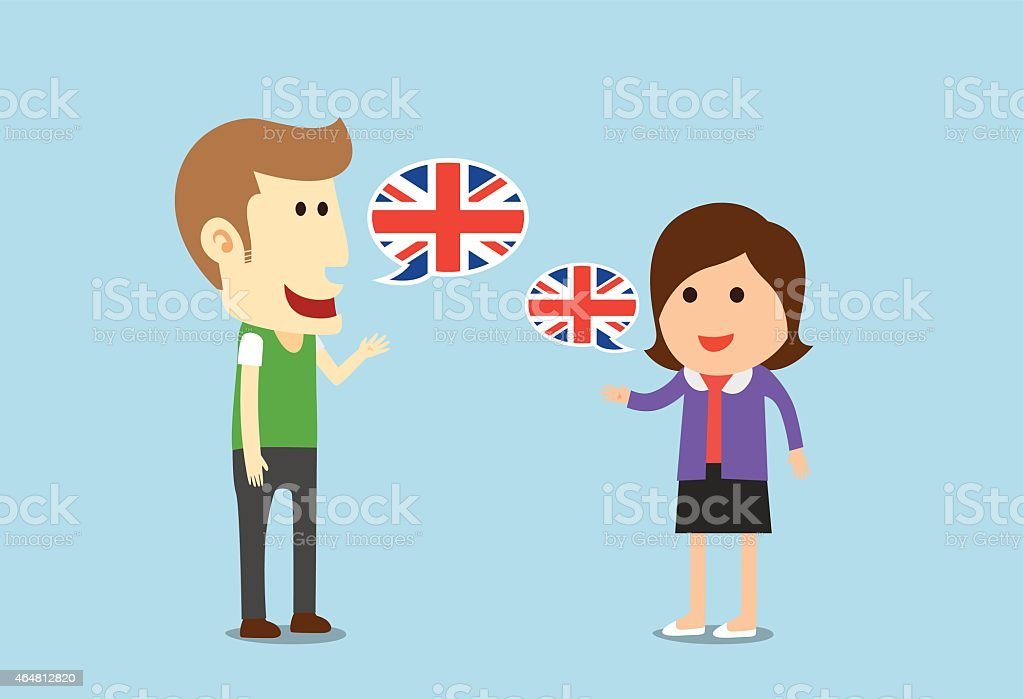 Women and man speaking English vector art illustration