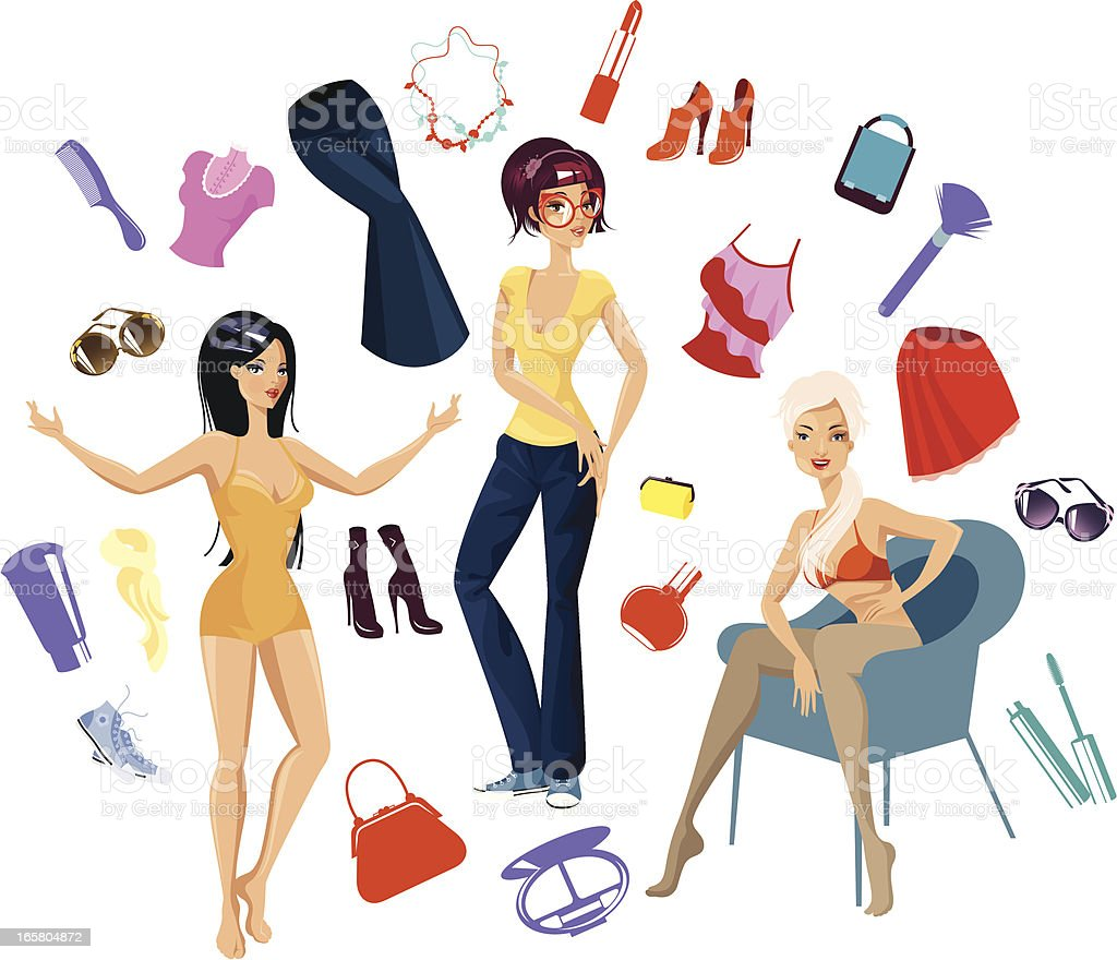 Women and their accessories. royalty-free stock vector art