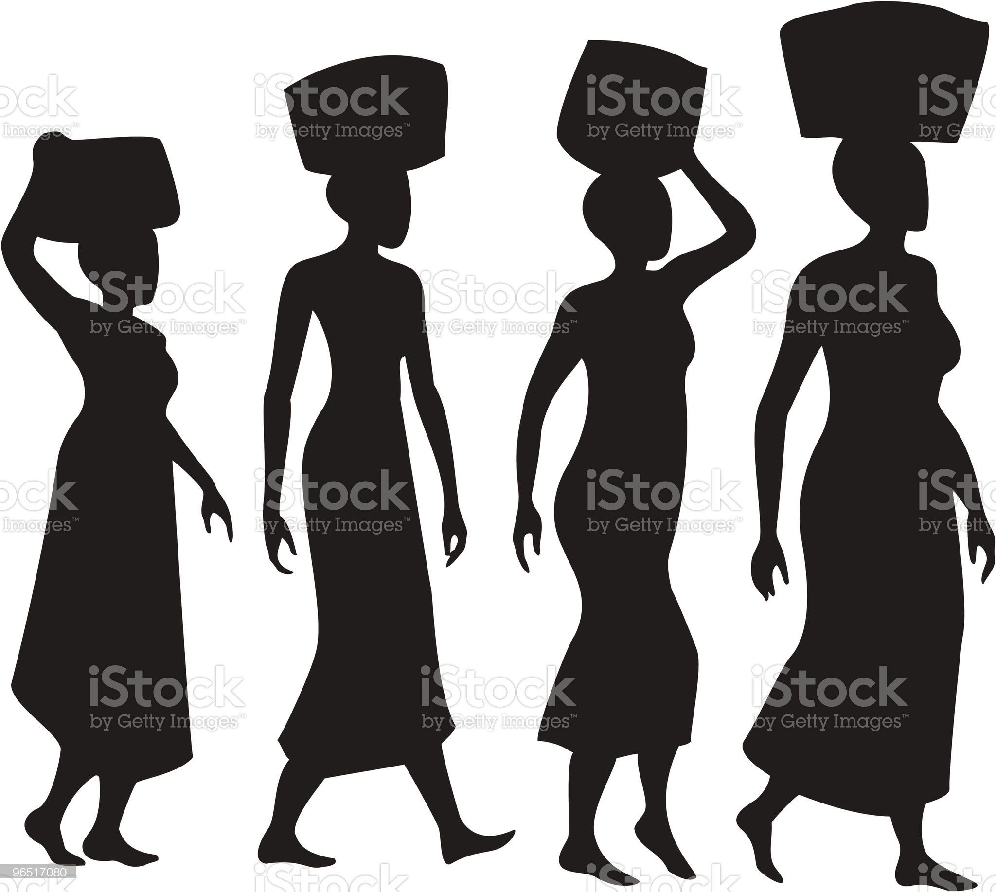 Women balancing baskets on heads Silhouettes royalty-free stock vector art