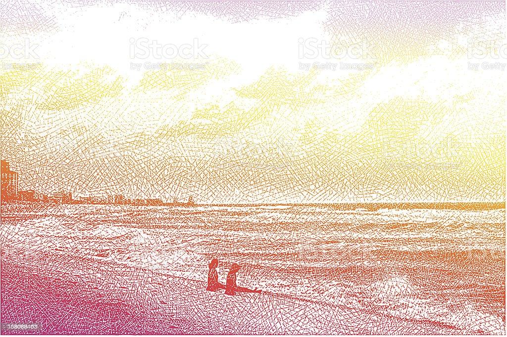 Women, Beach and Sunset vector art illustration