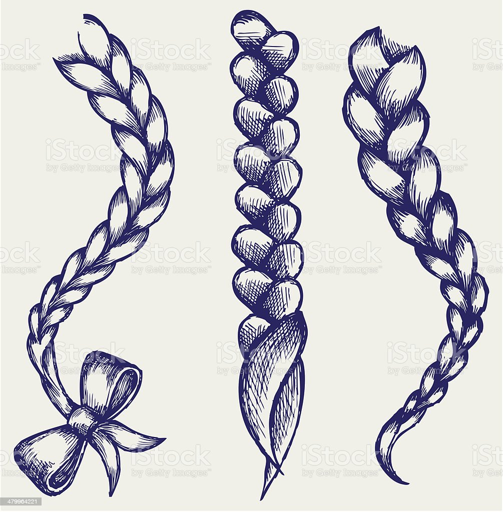 Women braid vector art illustration