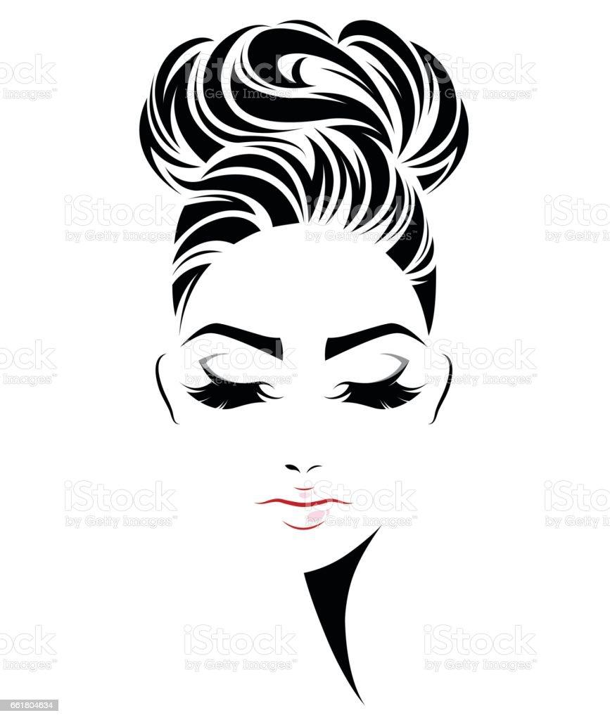 women bun hair style icon, logo women face vector art illustration