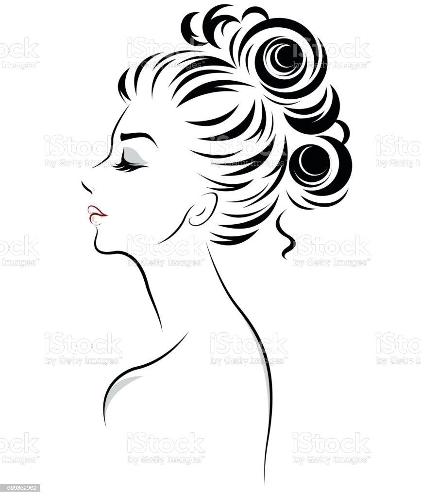 women bun hair style icon, logo women vector art illustration