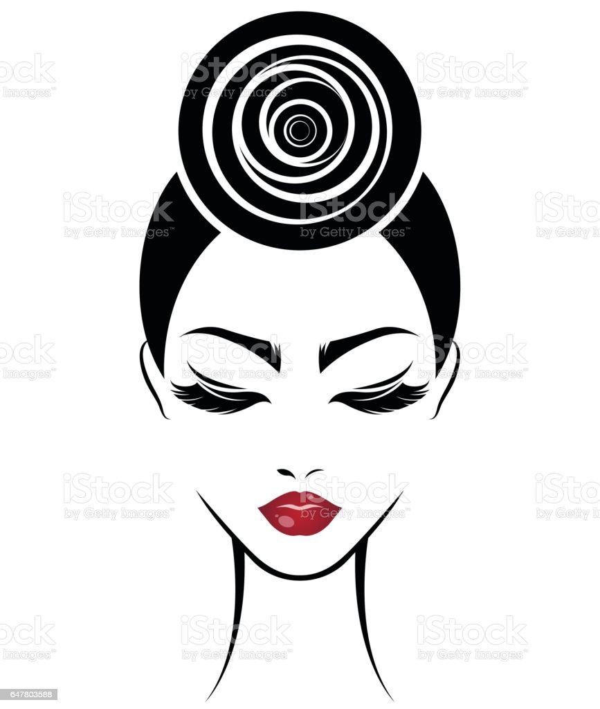 women bun hair style icon, women face vector art illustration