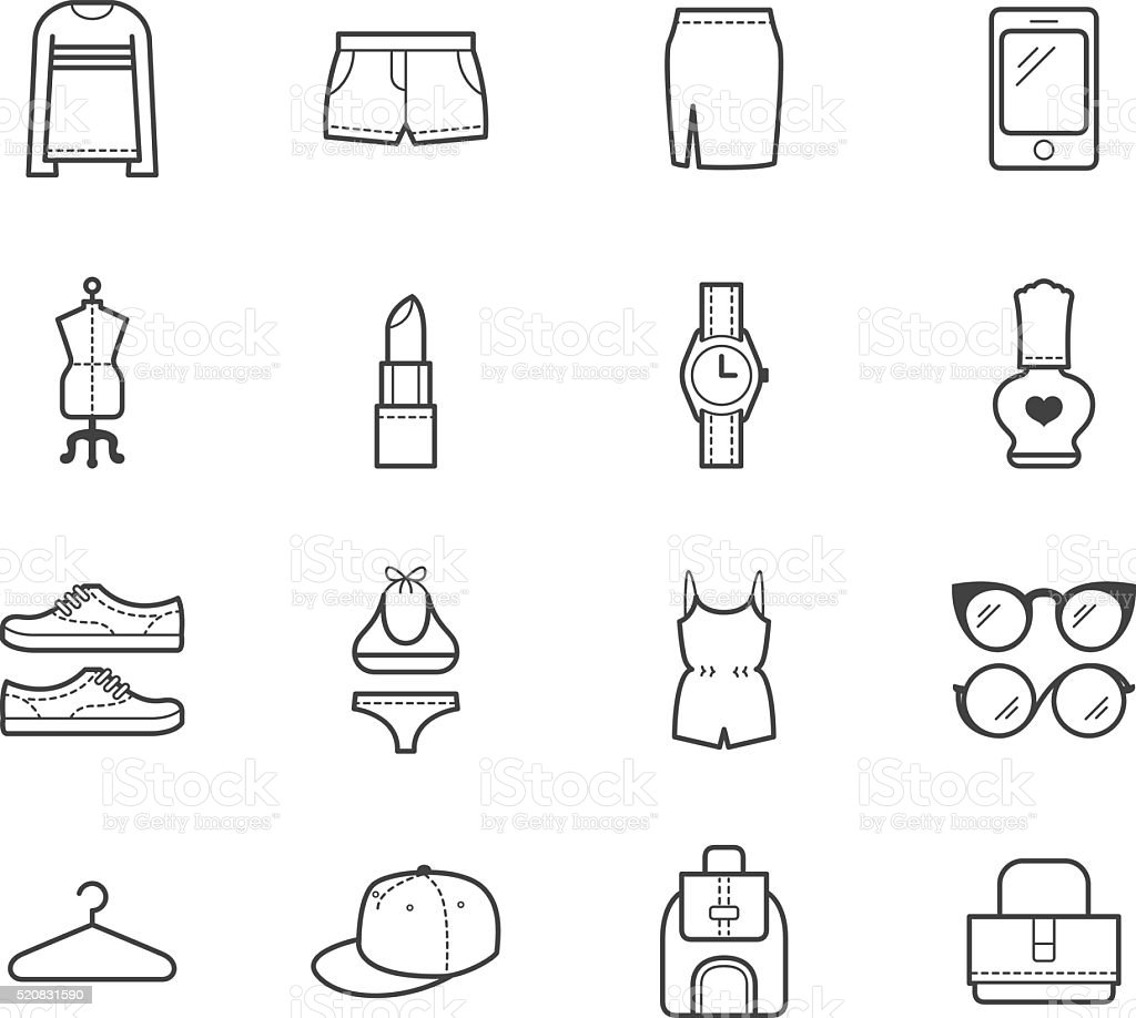 women clothes element vector icon set on white background vector art illustration